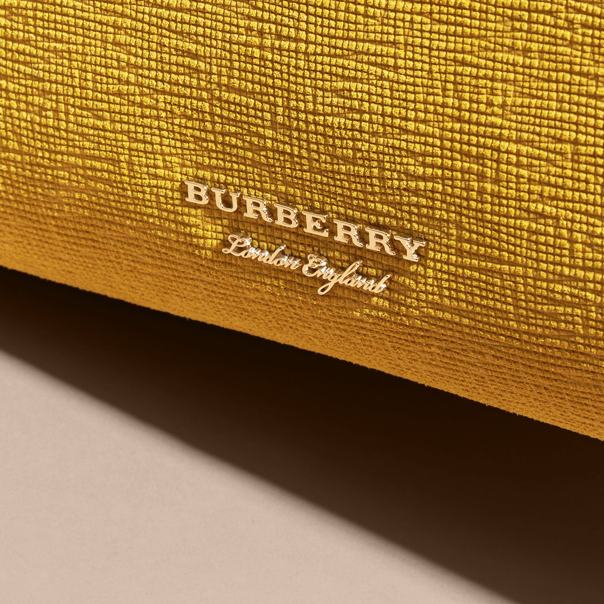 The Medium Banner in Leather, Python and House Check in Larch Yellow - Women | Burberry - gallery image 2