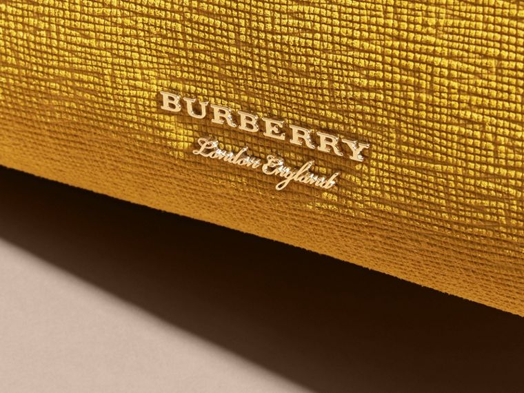 The Medium Banner in Leather, Python and House Check in Larch Yellow - Women | Burberry Australia - cell image 1