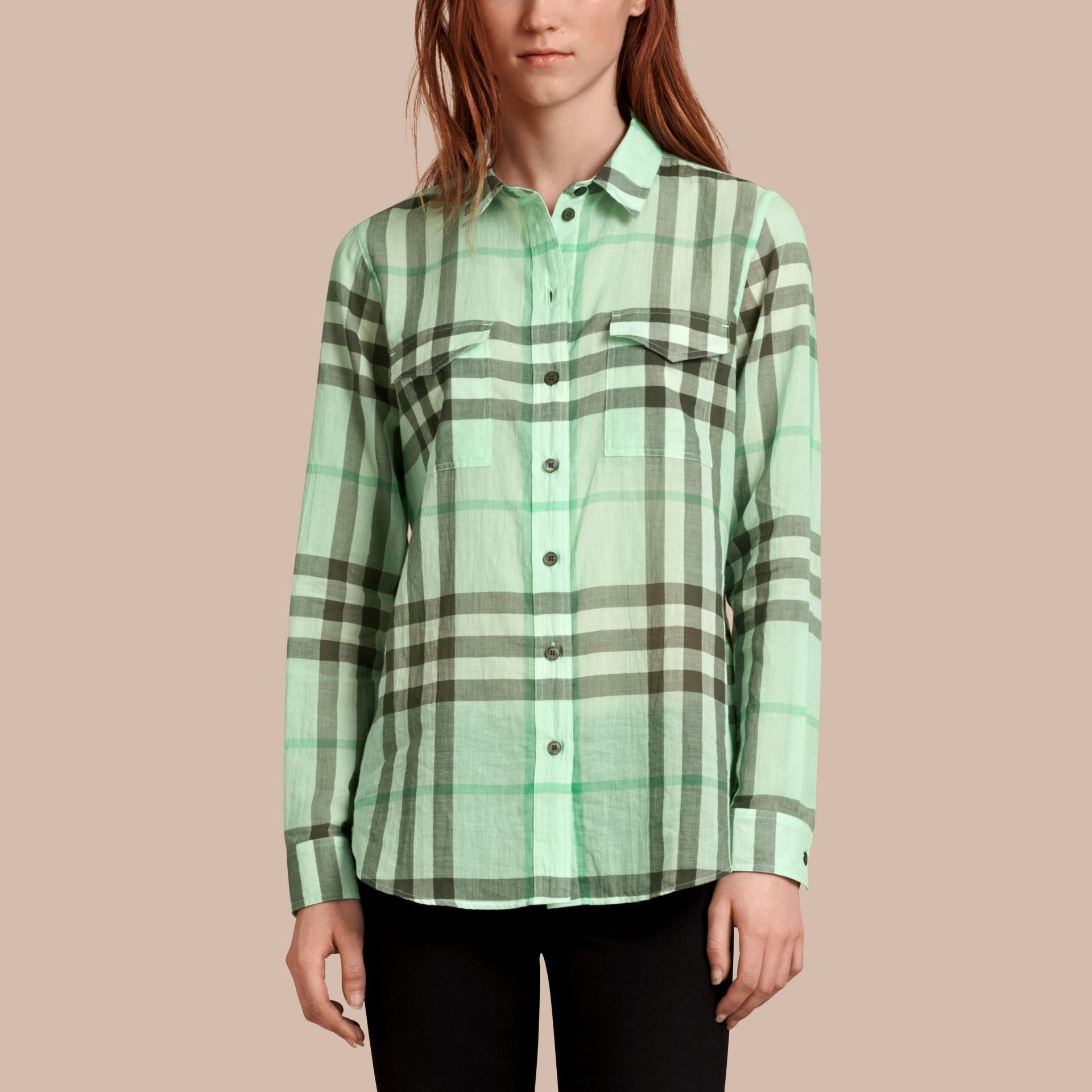 Bright opal green Check Cotton Shirt Bright Opal Green - gallery image 1