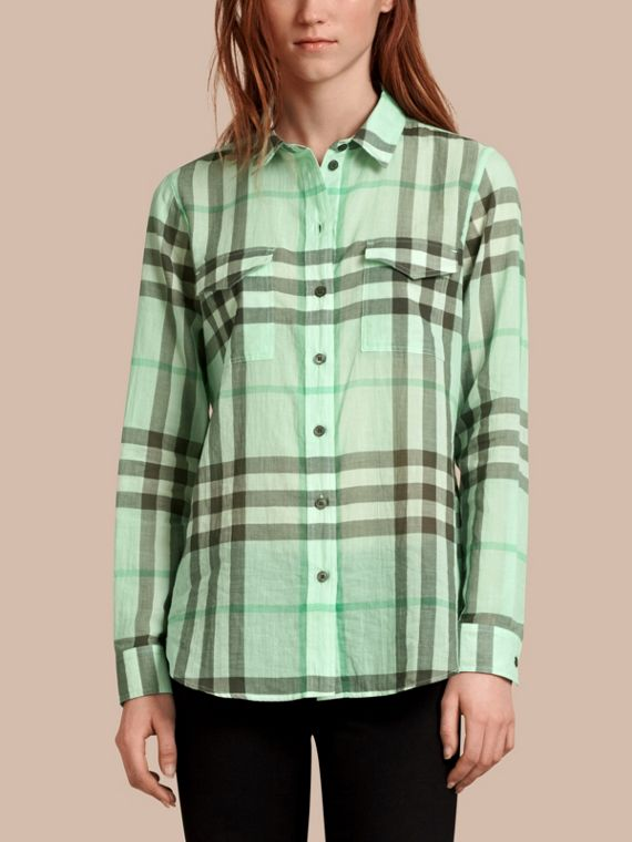 Check Cotton Shirt Bright Opal Green