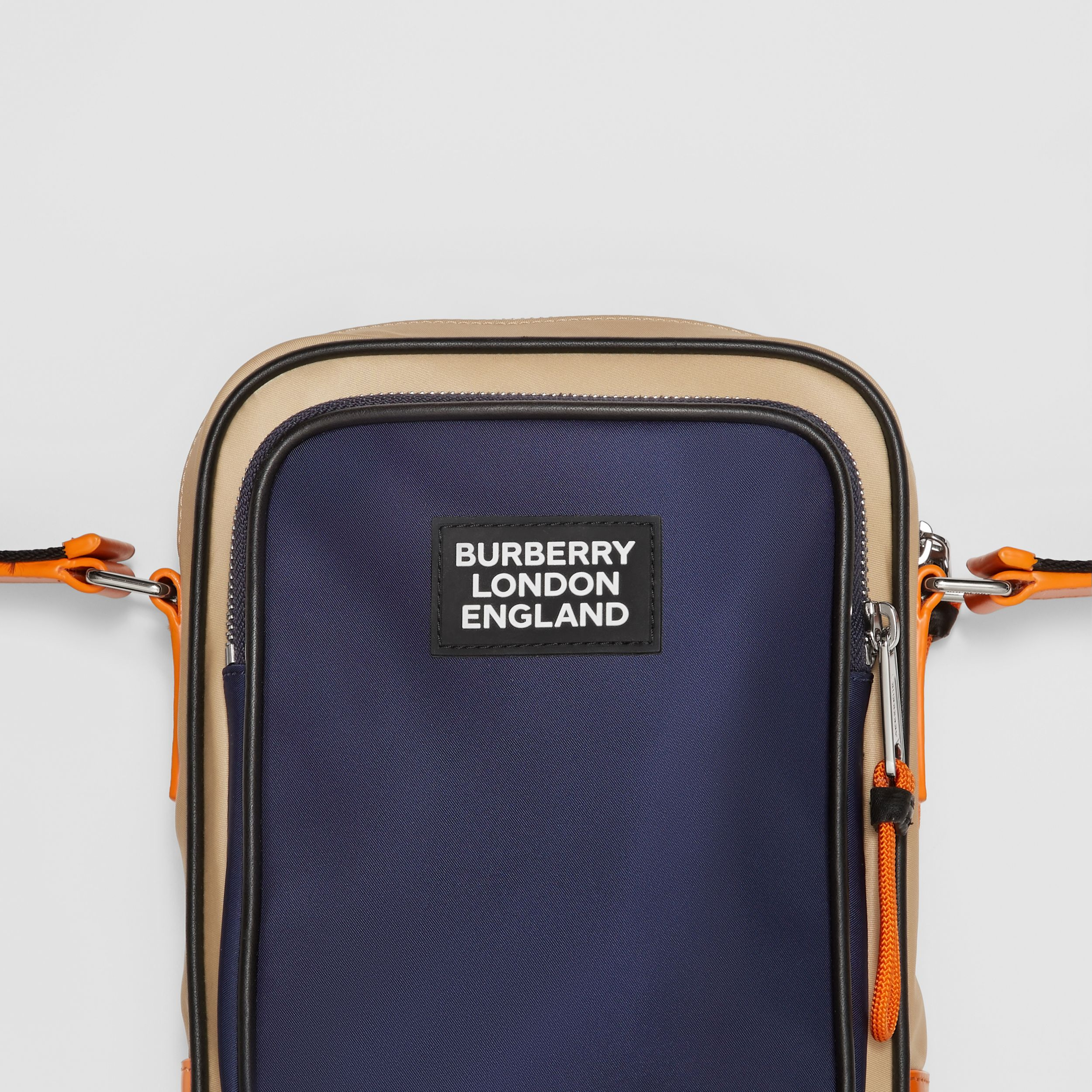 Logo Appliqué Two-tone ECONYL® Crossbody Bag in Regency Blue/bright Orange - Men | Burberry United Kingdom - 2