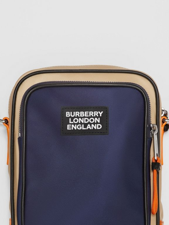 Logo Appliqué Two-tone ECONYL® Crossbody Bag in Regency Blue/bright Orange - Men | Burberry United Kingdom - cell image 1