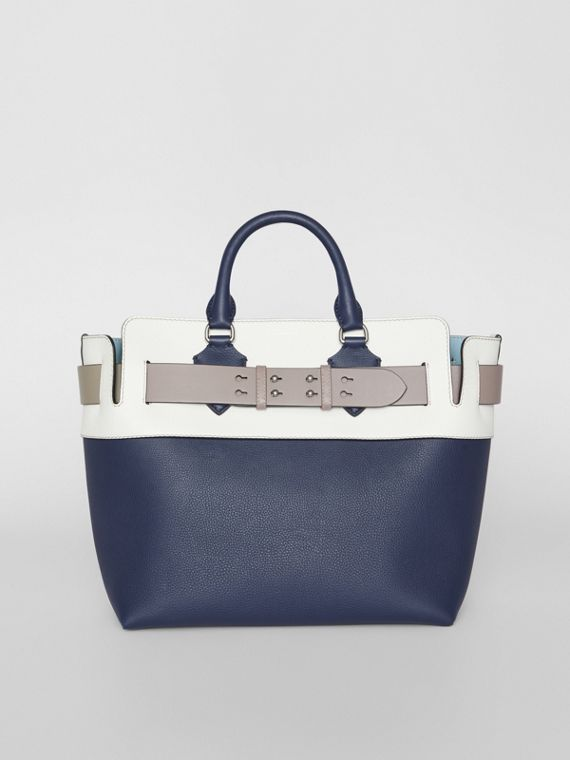 Sac The Belt moyen en cuir tricolore (Bleu Régence)