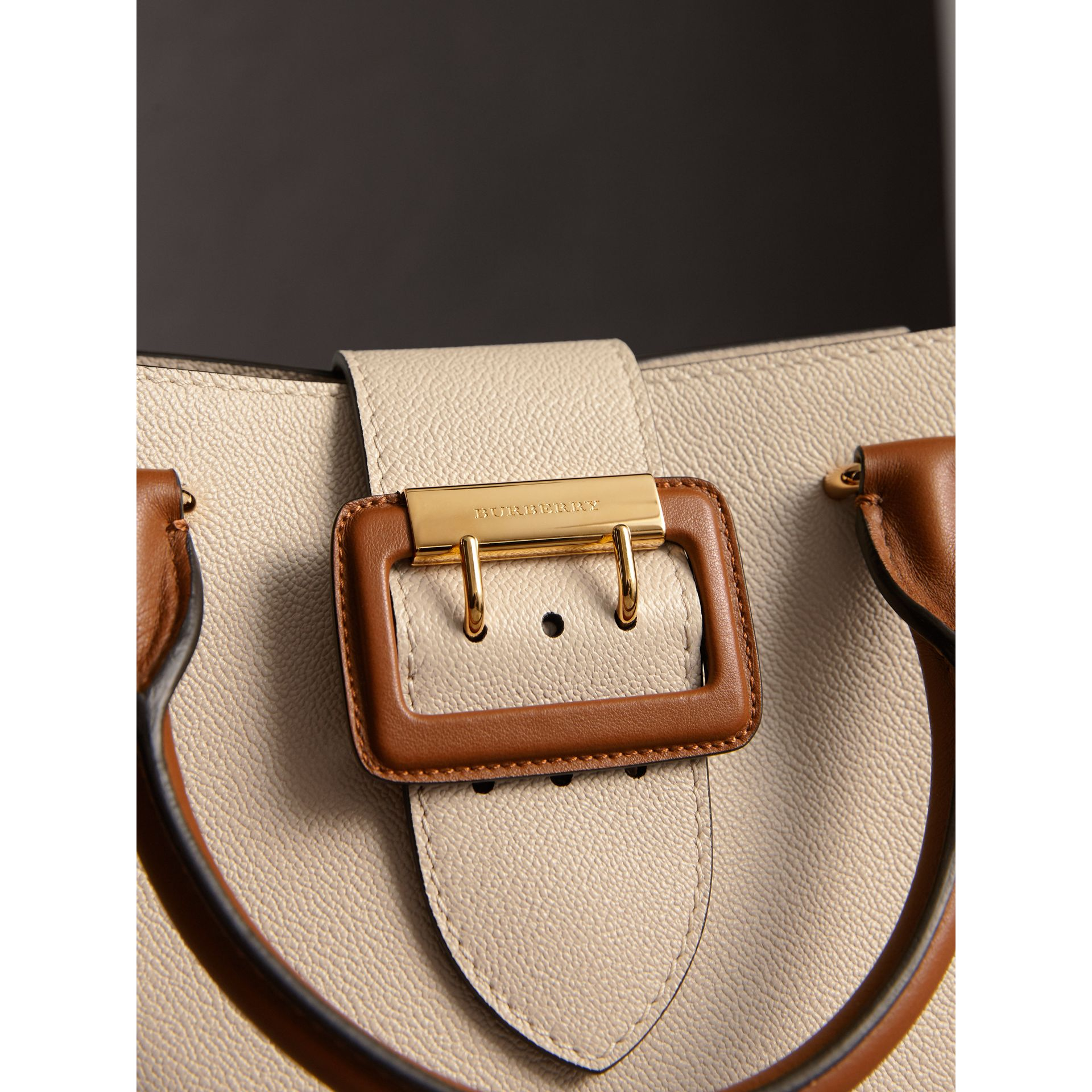 The Small Buckle Tote in Two-tone Leather in Limestone - Women | Burberry Australia - gallery image 2
