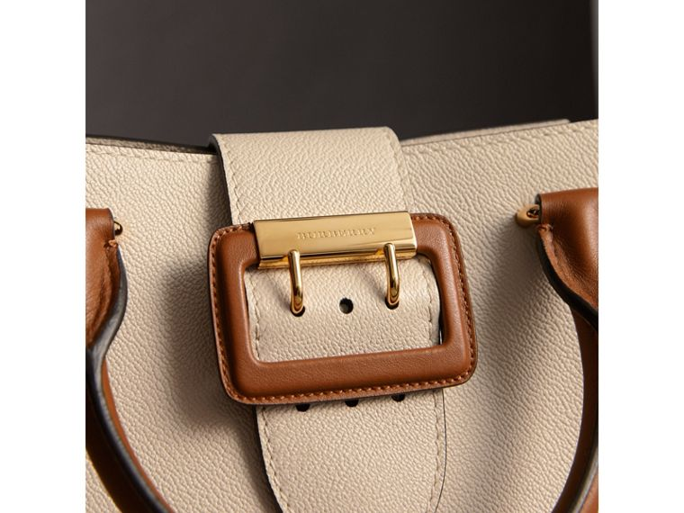 The Small Buckle Tote in Two-tone Leather in Limestone - Women | Burberry Australia - cell image 1