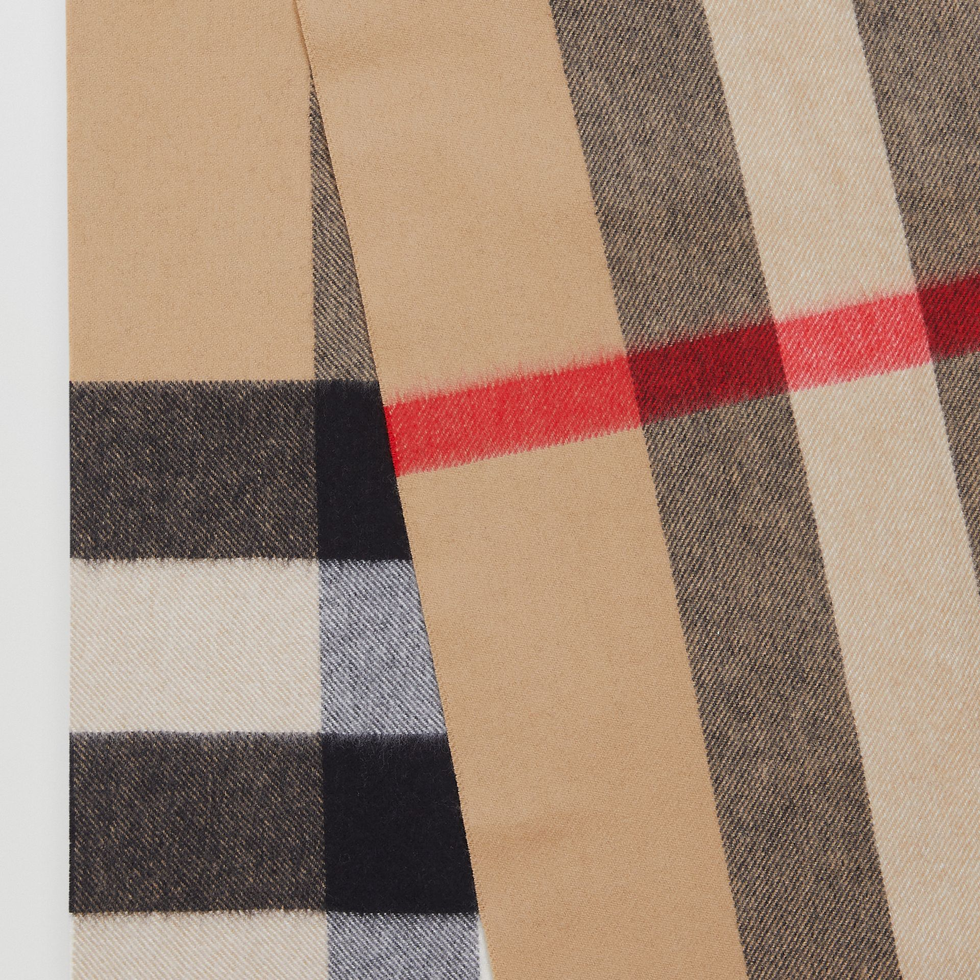 Check Cashmere Scarf in Archive Beige | Burberry - gallery image 1