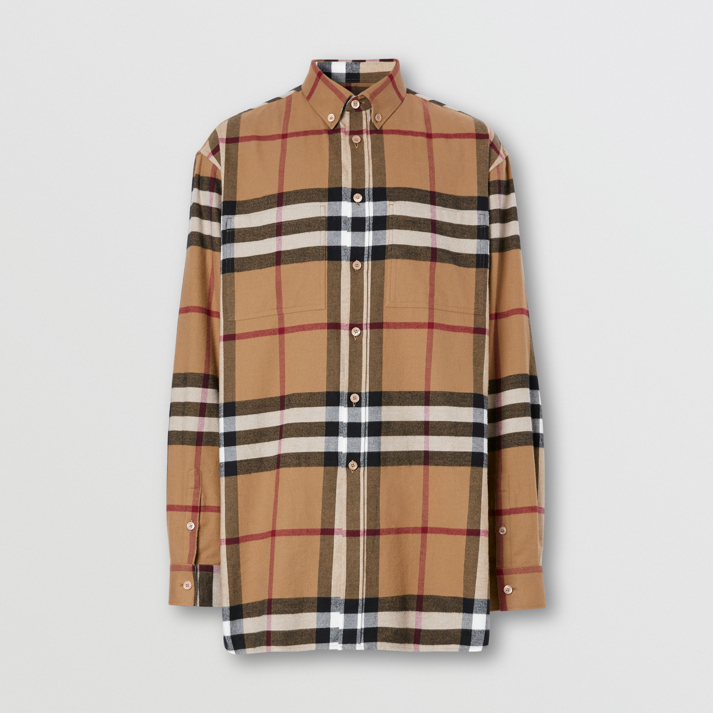 Relaxed Fit House Check Cotton Flannel Shirt in Birch Brown | Burberry - 4