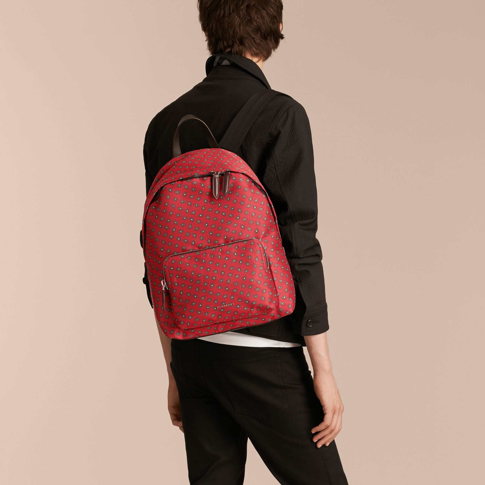Military red Leather Trim Abstract Jacquard Backpack Military Red - gallery image 3