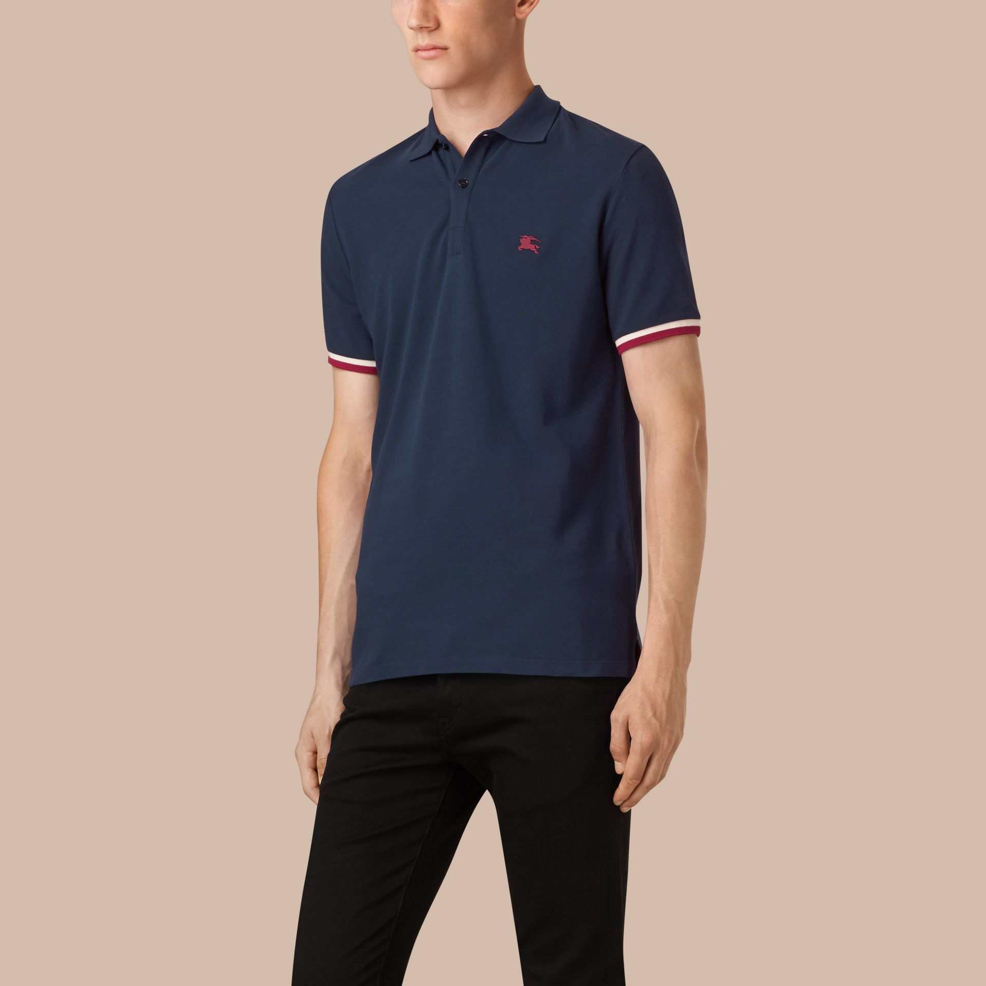 Dark ultramarine Contrast Cuff Cotton Piqué Polo Shirt Dark Ultramarine - gallery image 1