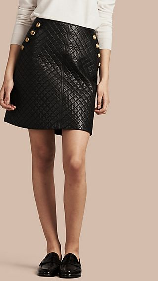 Quilted Lambskin A-Line Skirt