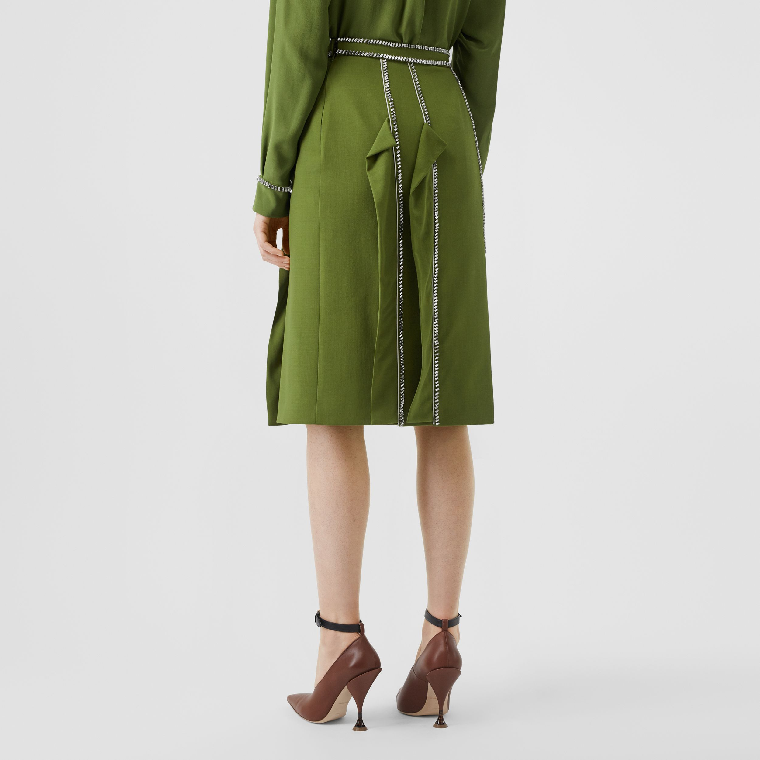 Crystal Detail Panelled Wool Crepe A-line Skirt in Cedar Green - Women | Burberry - 3