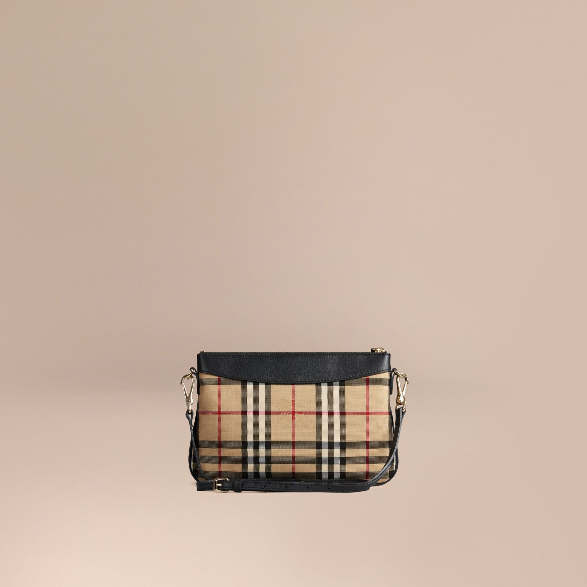 Black Horseferry Check and Leather Clutch Bag Black - gallery image 5