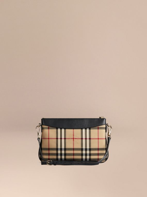 Black Horseferry Check and Leather Clutch Bag Black - cell image 3