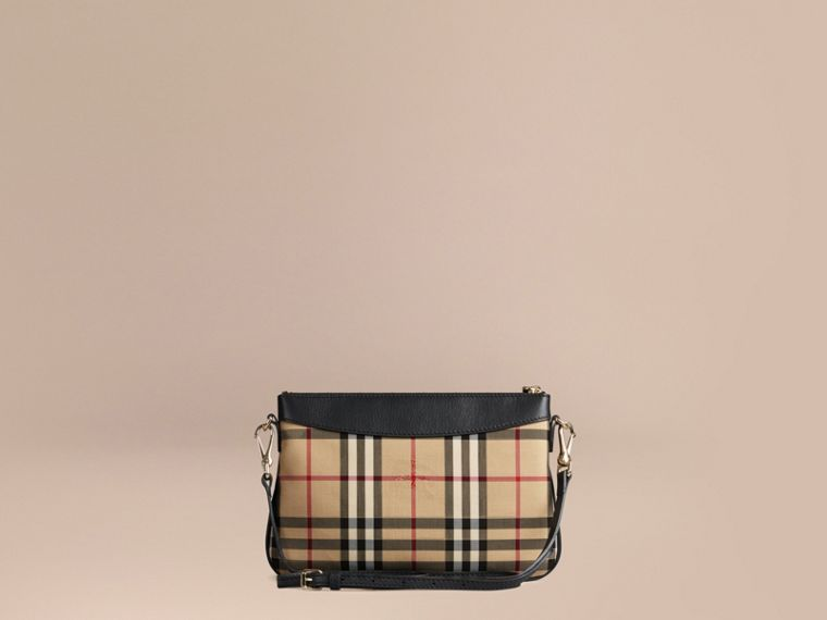 Horseferry Check and Leather Clutch Bag in Black - Women | Burberry - cell image 4
