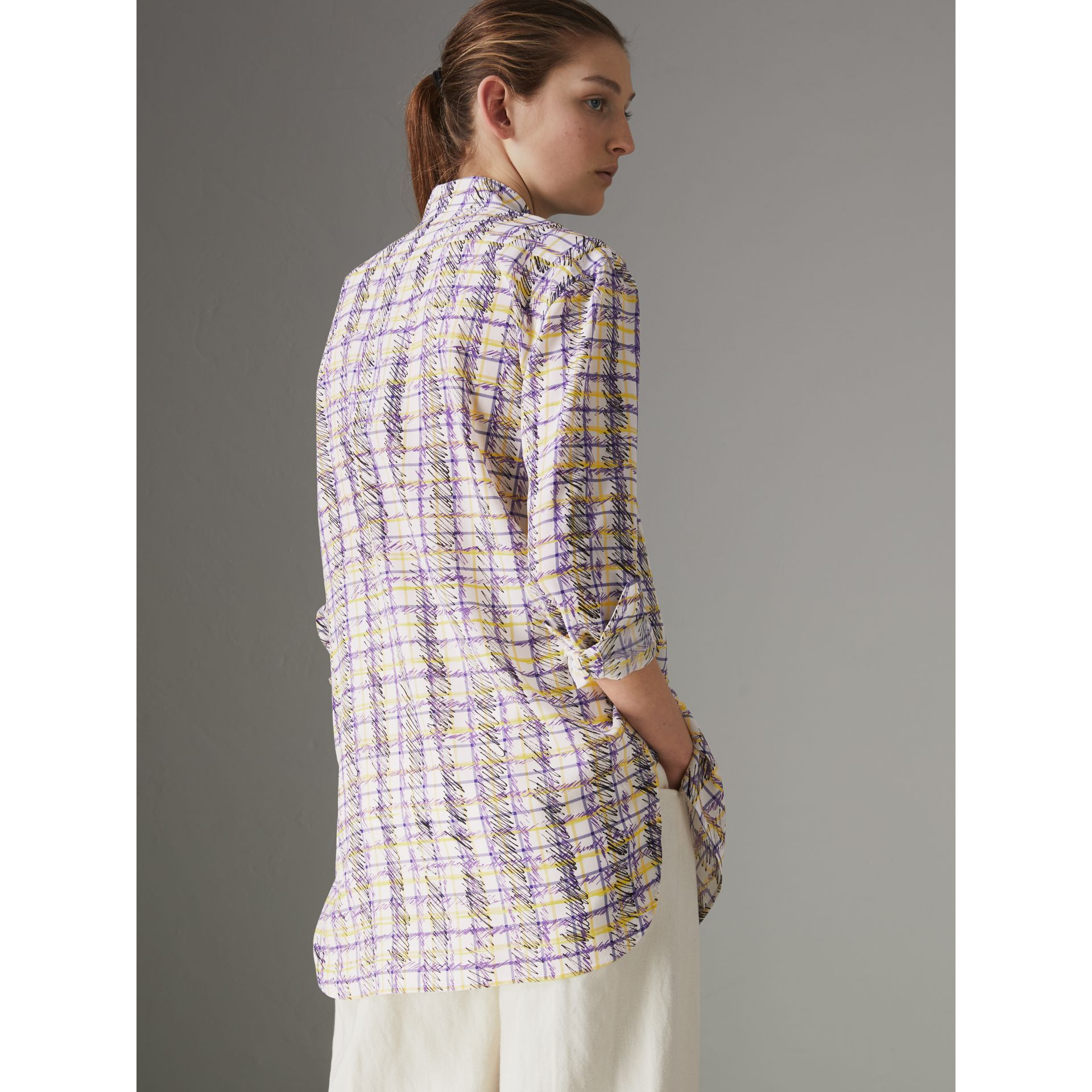 Scribble Check Print Silk Shirt in Heather - Women | Burberry United Kingdom - gallery image 2