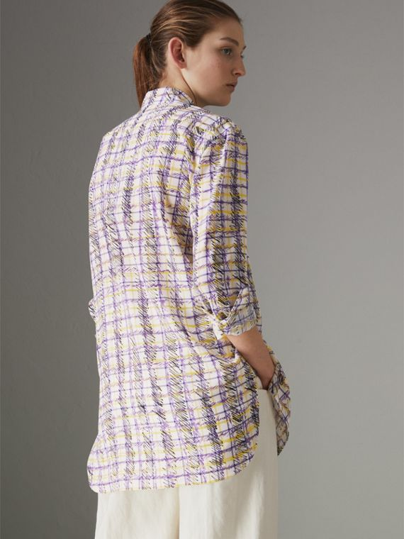 Scribble Check Print Silk Shirt in Heather - Women | Burberry - cell image 2