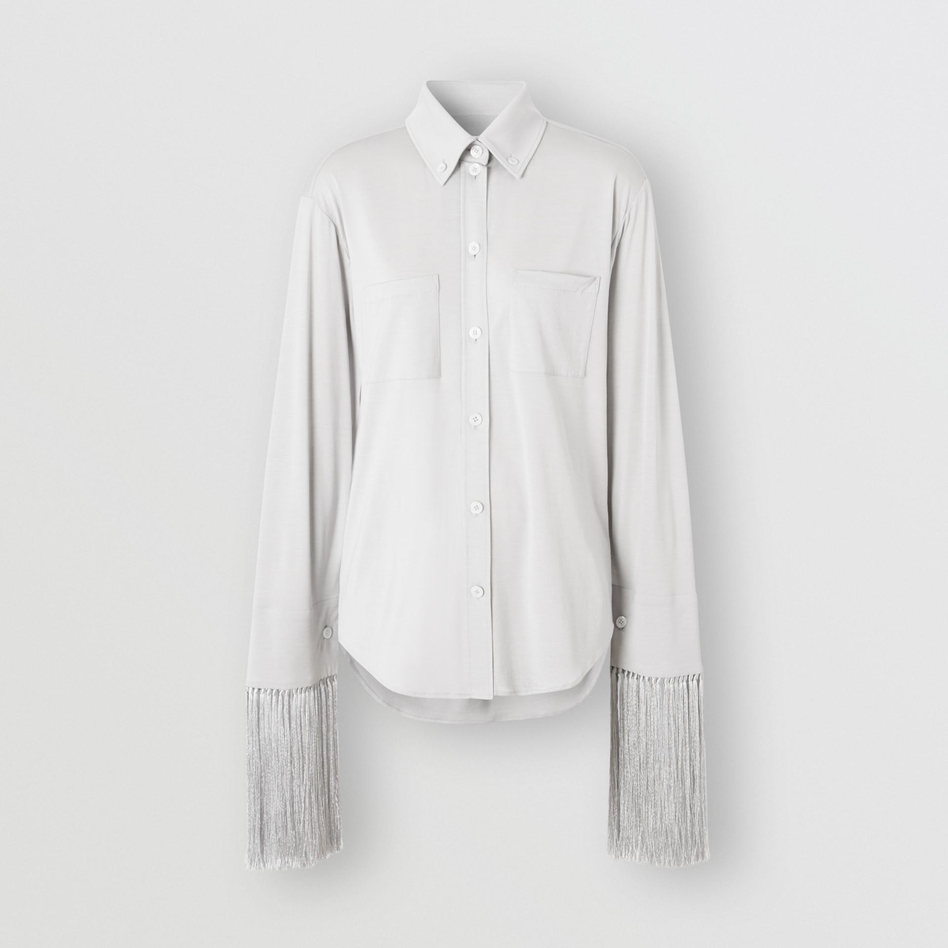 Fringed Silk Wool Jersey Shirt in Grey Melange - Women | Burberry Canada - gallery image 3
