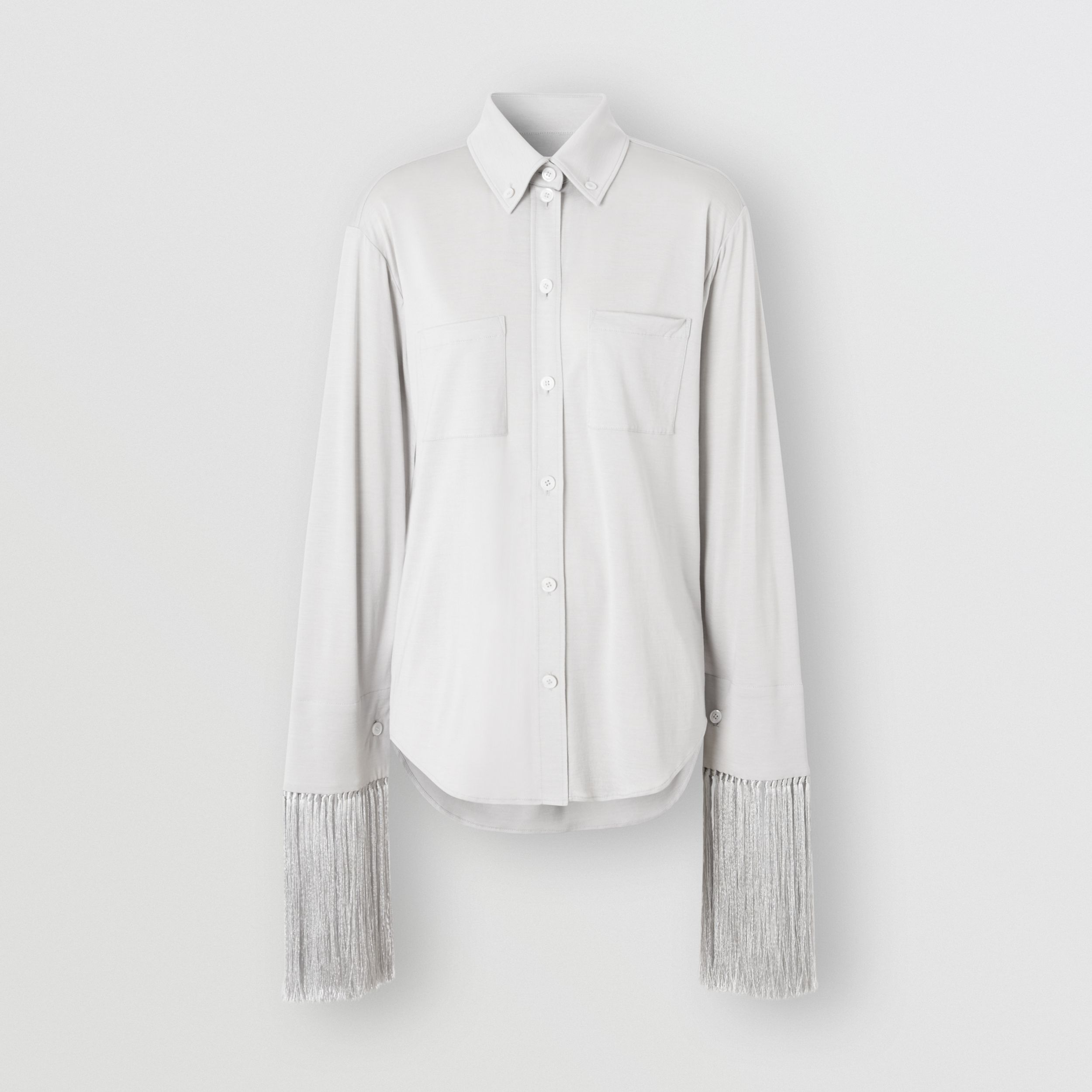 Fringed Silk Wool Jersey Shirt in Grey Melange - Women | Burberry - 4
