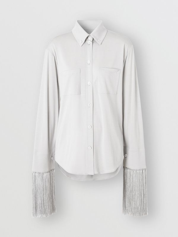 Fringed Silk Wool Jersey Shirt in Grey Melange - Women | Burberry Canada - cell image 3