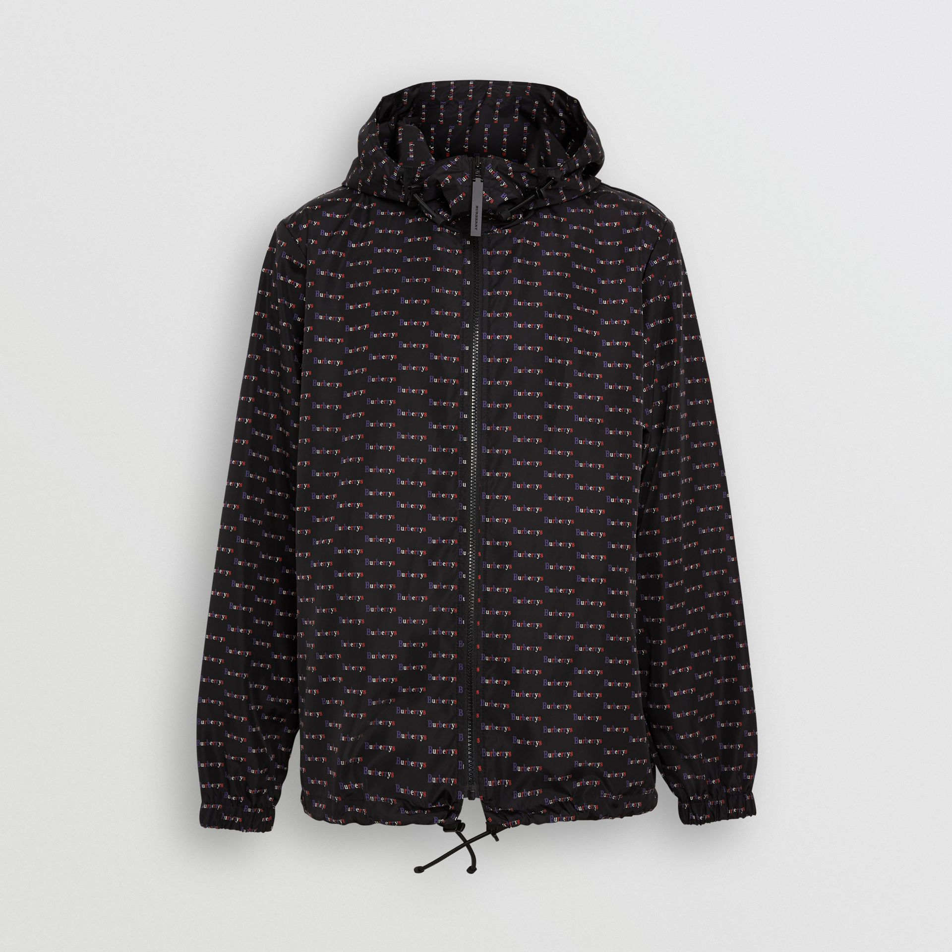 Archive Logo Print Lightweight Hooded Jacket in Black - Men | Burberry United Kingdom - gallery image 3