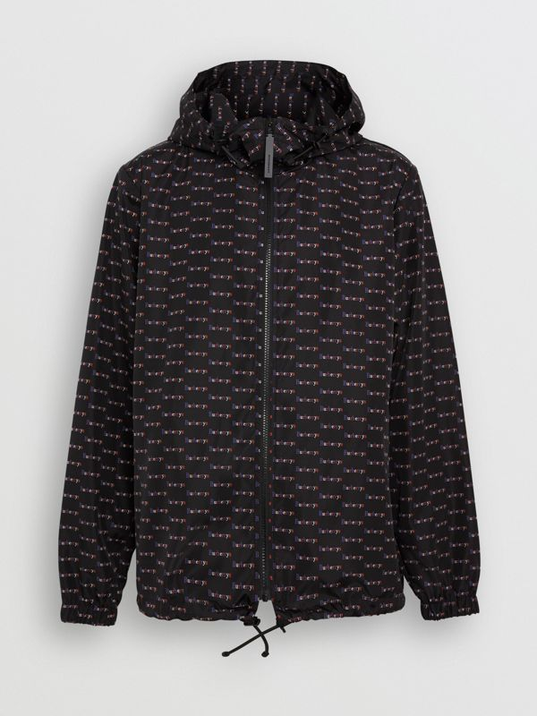 Archive Logo Print Lightweight Hooded Jacket in Black - Men | Burberry - cell image 3
