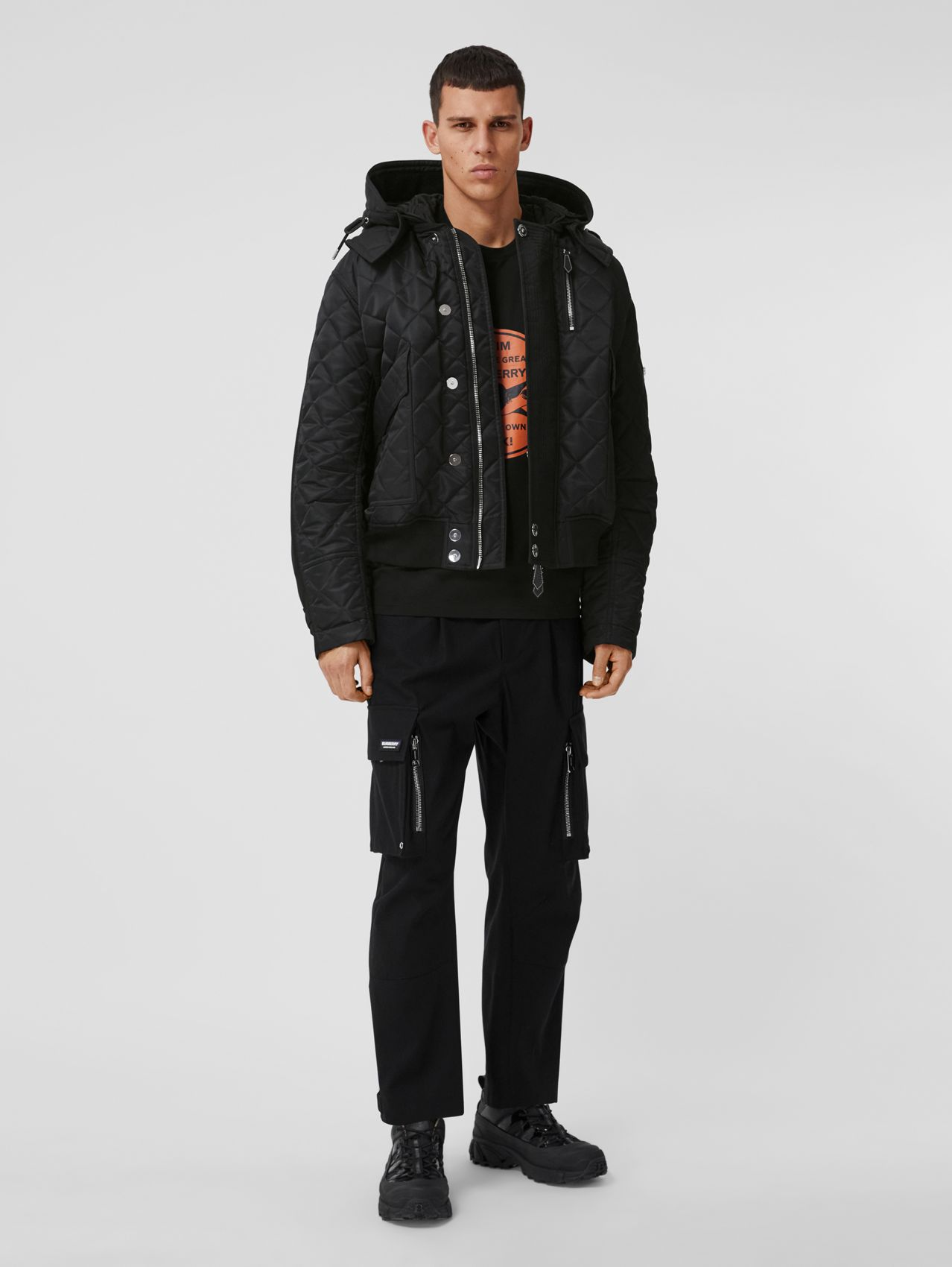 Detachable Hood Quilted Nylon and Cotton Jacket in Black/black