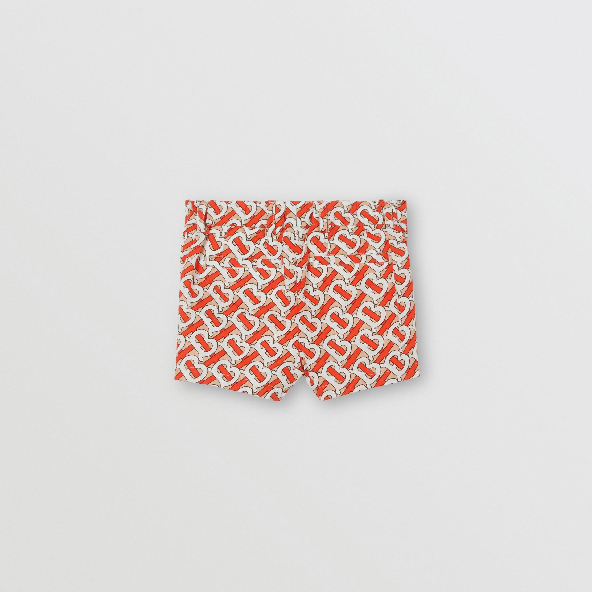Monogram Print Cotton Poplin Shorts in Vermilion Red - Children | Burberry - gallery image 3
