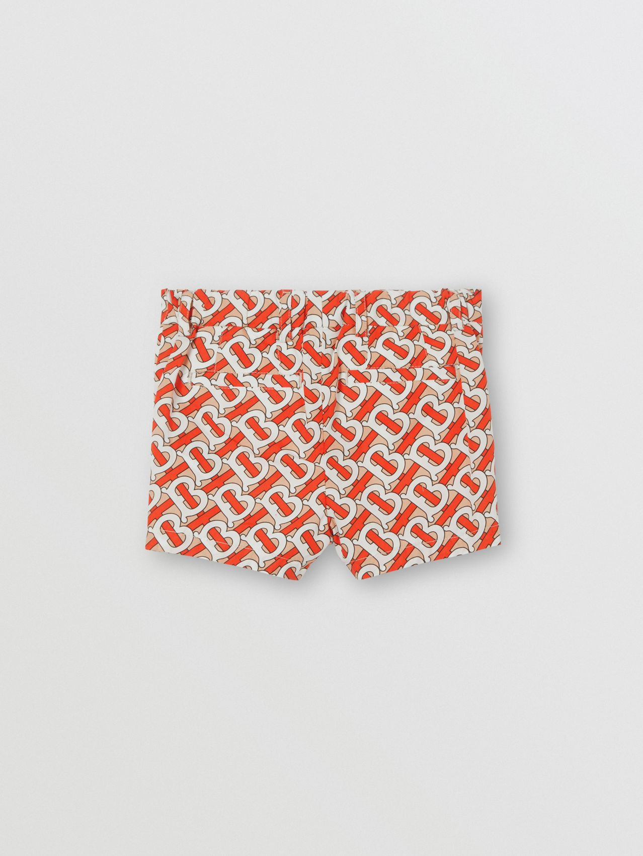 Short en popeline de coton Monogram in Rouge Vermillon
