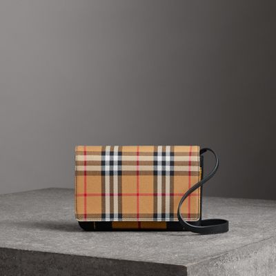Tartan and Leather Wallet with Detachable Strap - Yellow & Orange Burberry Hw2w2