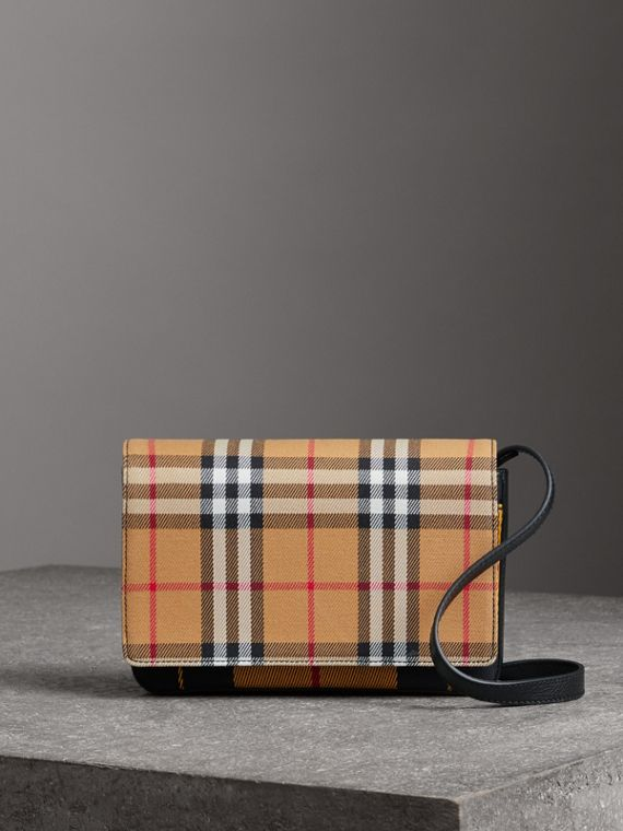 Tartan and Leather Wallet with Detachable Strap in Antique Yellow/black