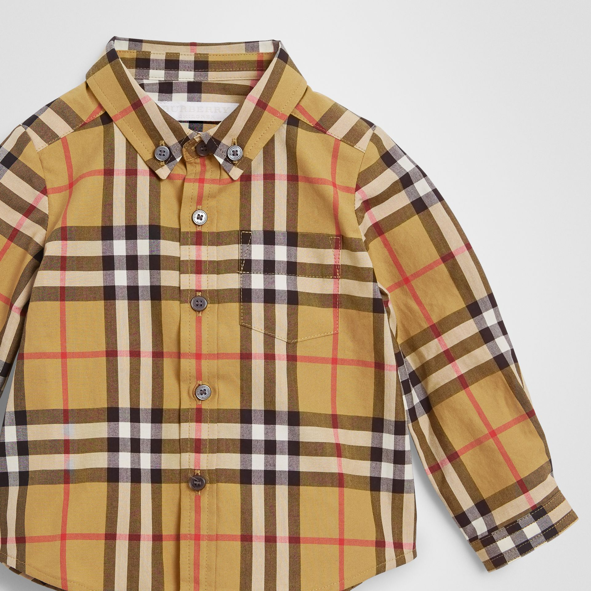 Button-down Collar Vintage Check Cotton Shirt in Antique Yellow - Children | Burberry Singapore - gallery image 4