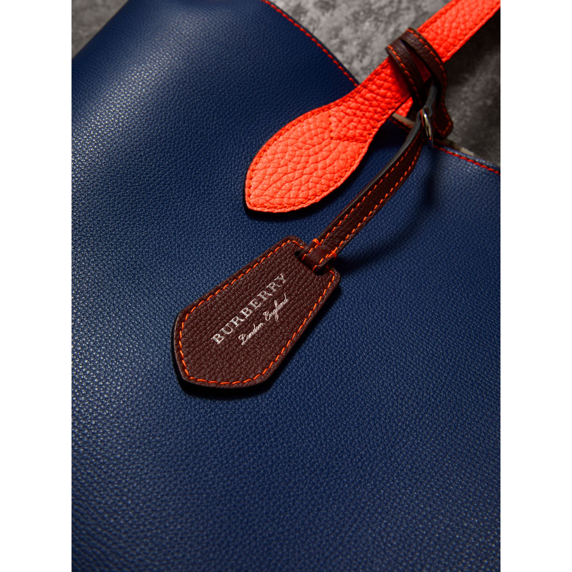 Medium Two-tone Coated Leather Tote in Dark Ultramarine | Burberry United Kingdom - gallery image 1