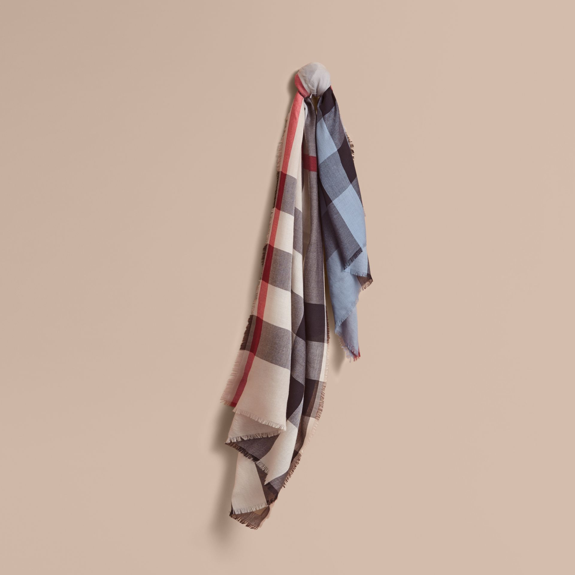 The Lightweight Cashmere Scarf in Ombré Check Pale Bluebell - gallery image 1