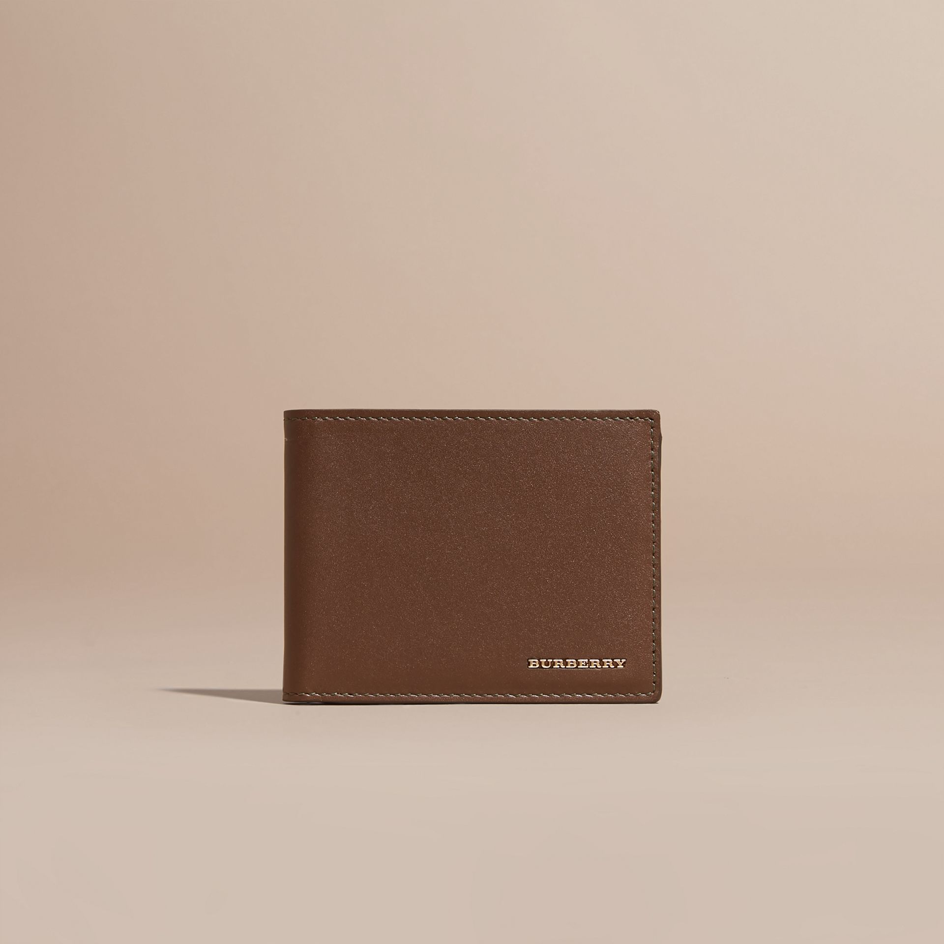 Sepia brown Smooth Leather Folding Wallet with Printed Lining Sepia Brown - gallery image 6