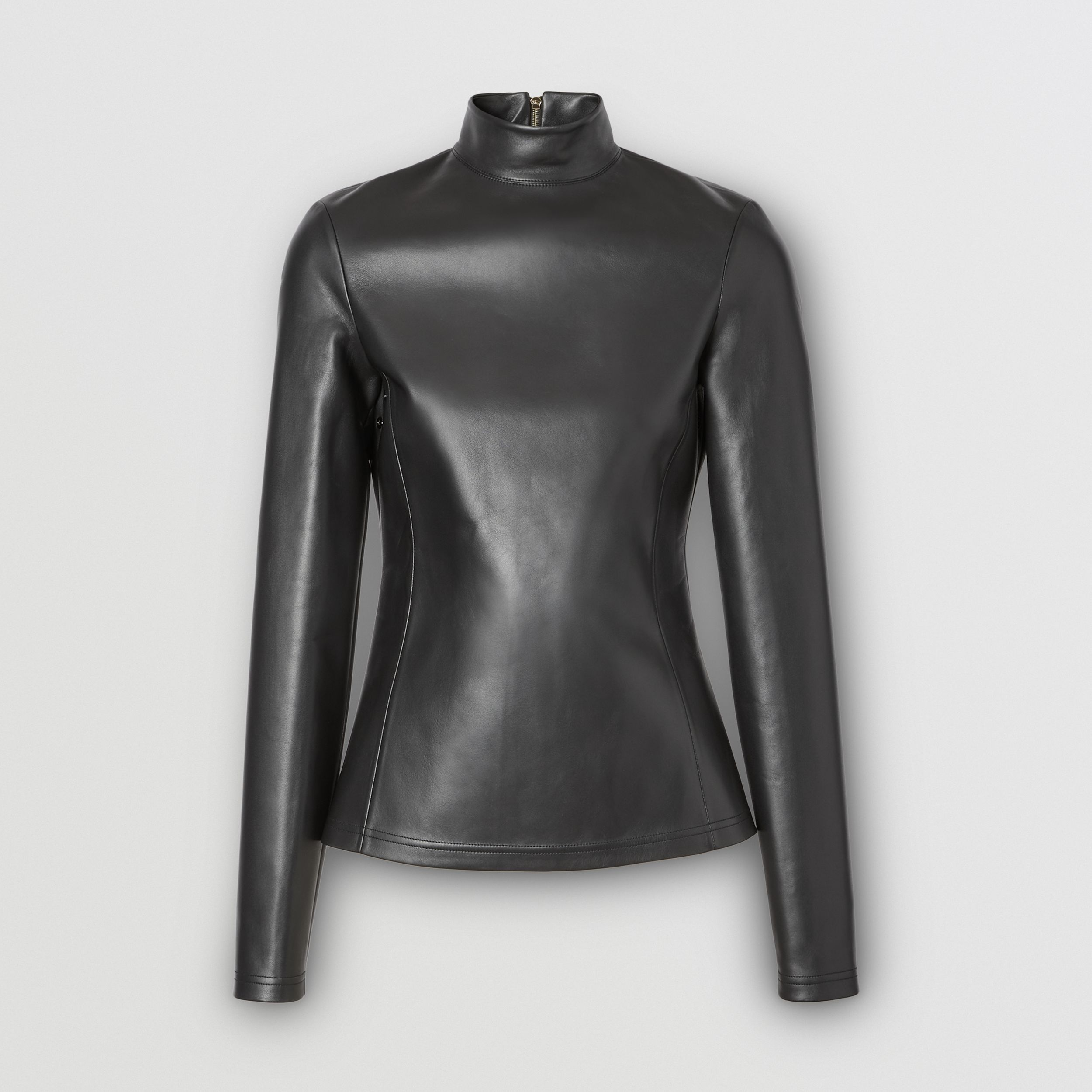 Stretch Lambskin Turtleneck Top in Black - Women | Burberry - 4