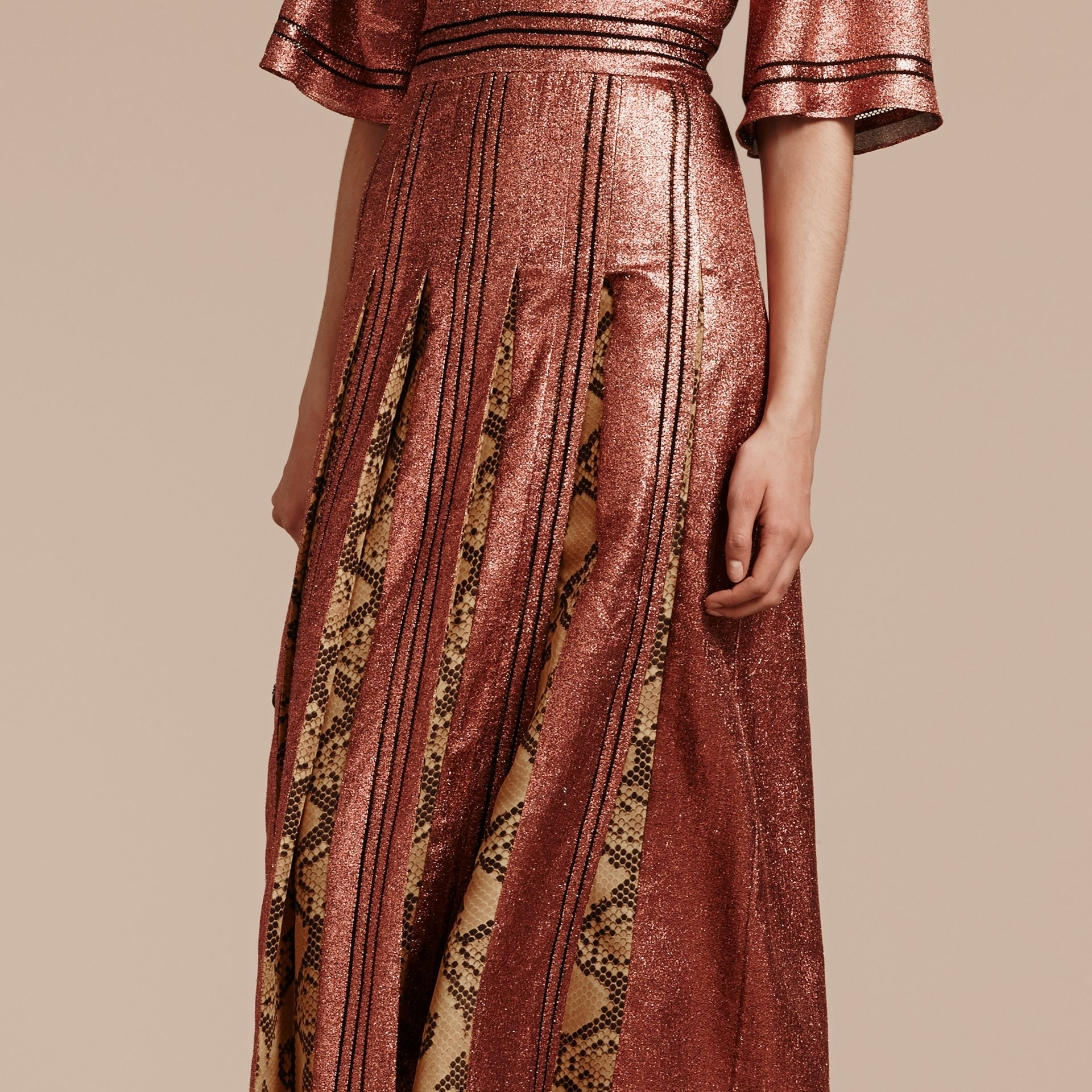 Copper rose Long Lamé and Python Print Dress Copper Rose - gallery image 4
