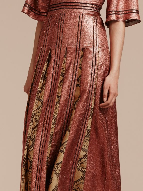 Copper rose Long Lamé and Python Print Dress Copper Rose - cell image 3