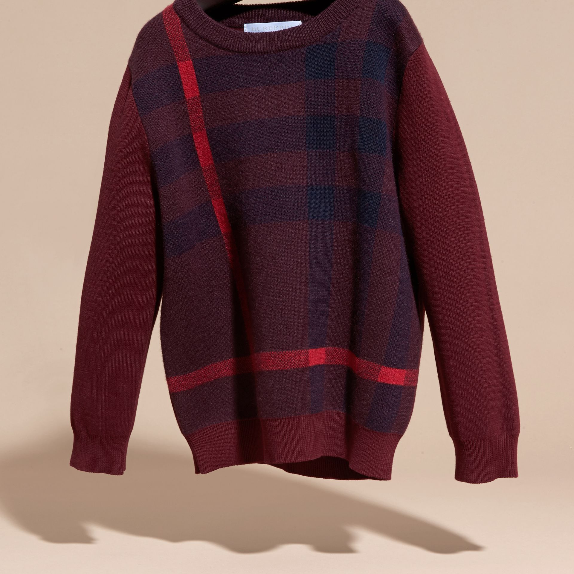 Deep claret Check Wool Cashmere Blend Sweater Deep Claret - gallery image 3