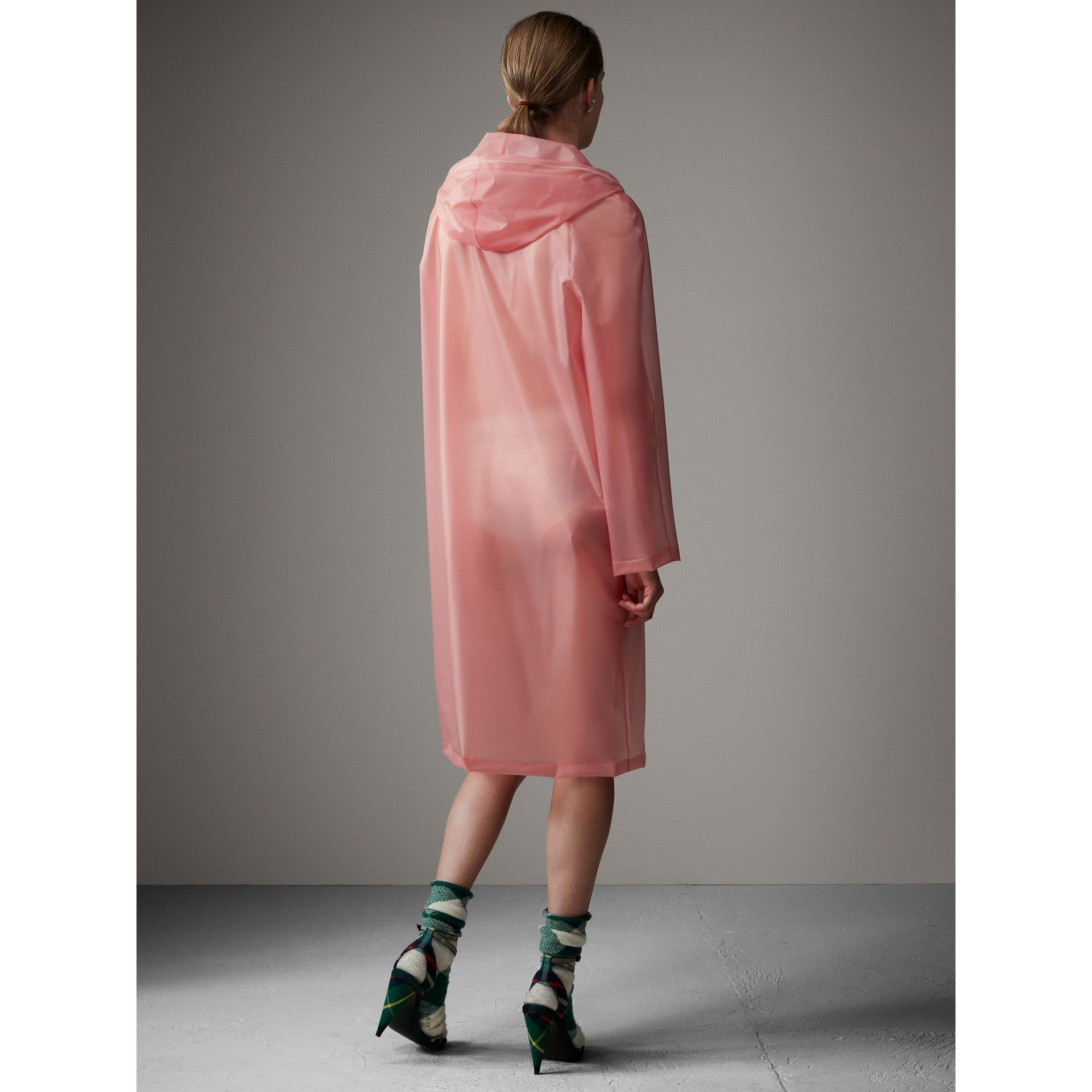 Soft-touch Plastic Hooded Coat in Rose Pink - Women | Burberry United Kingdom - gallery image 3