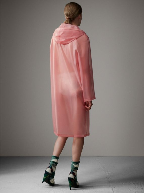 Soft-touch Plastic Hooded Coat in Rose Pink - Women | Burberry United States - cell image 2