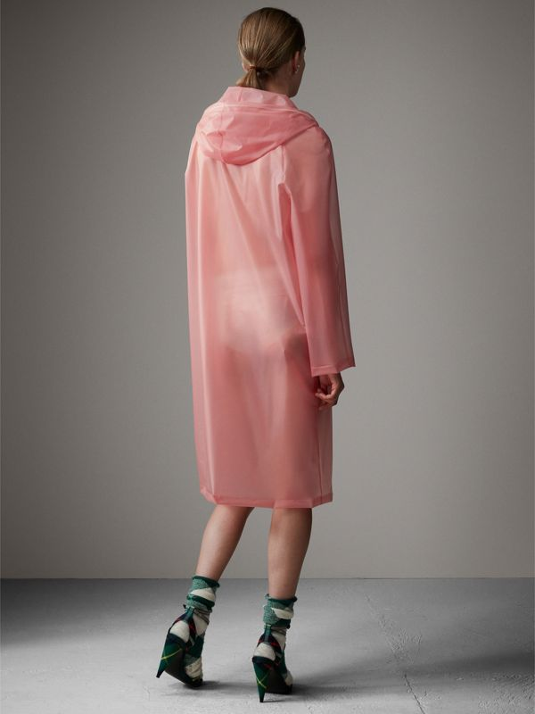 Soft-touch Plastic Hooded Coat in Rose Pink - Women | Burberry - cell image 2