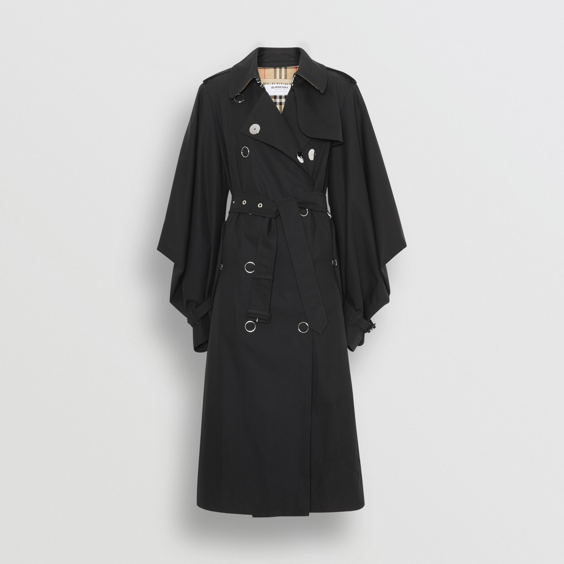 Cape-style Sleeve Cotton Gabardine Trench Coat in Black - Women | Burberry - gallery image 3