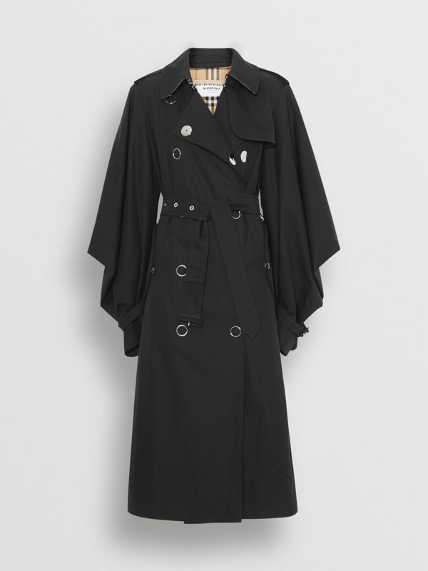 Cape-style Sleeve Cotton Gabardine Trench Coat in Black - Women | Burberry - cell image 3