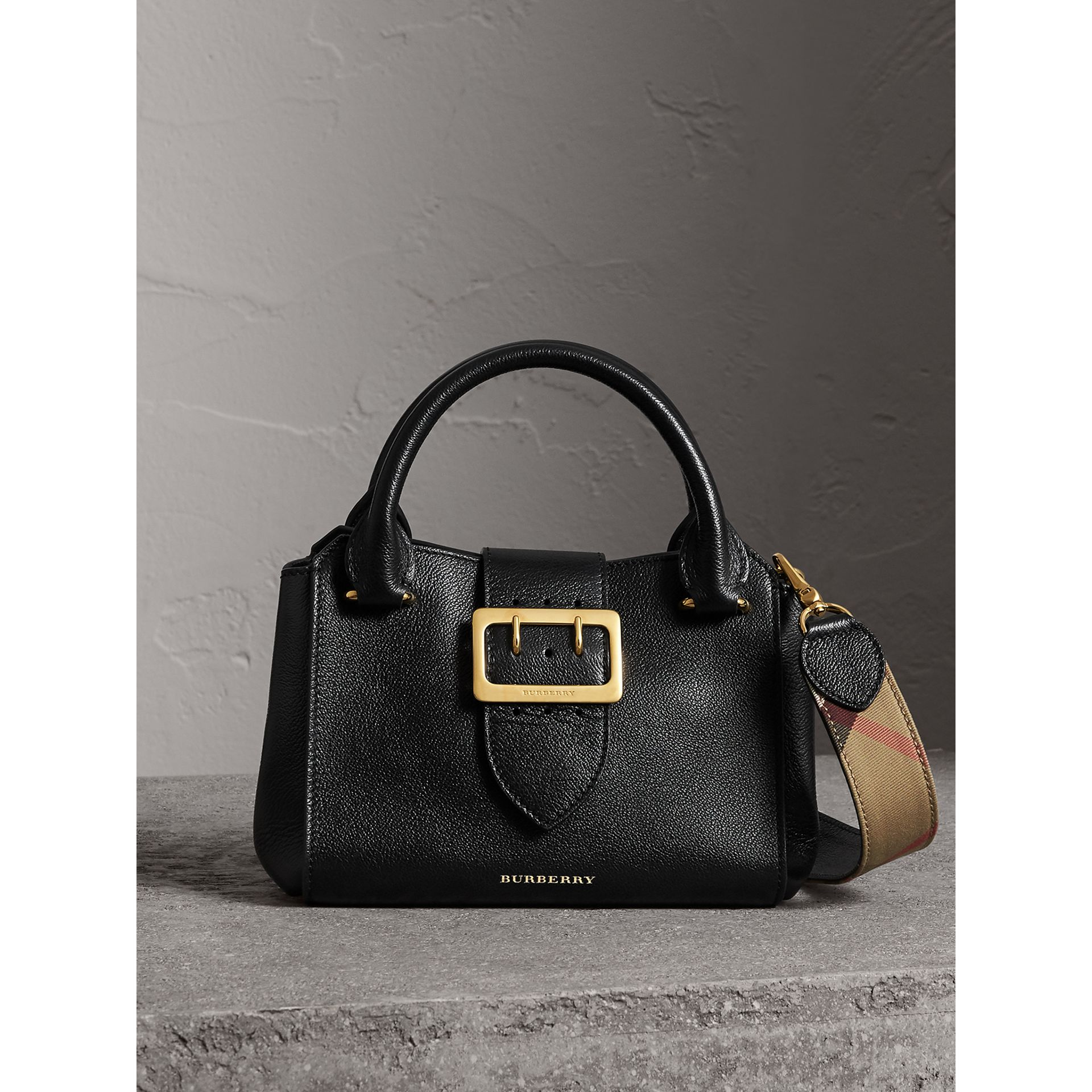 The Small Buckle Tote in Grainy Leather in Black - Women | Burberry United Kingdom - gallery image 0