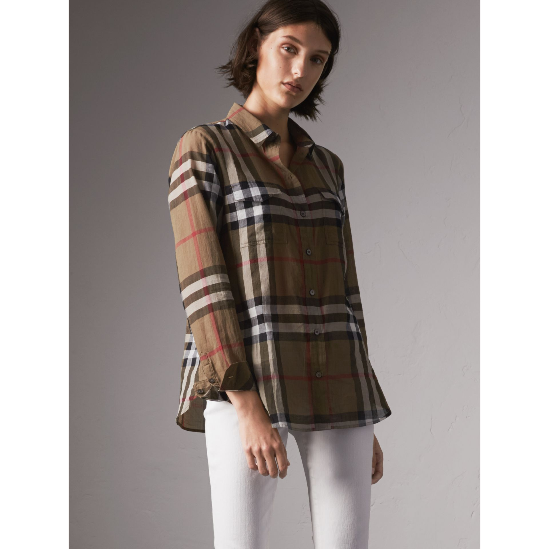 Check Cotton Shirt in Taupe Brown - Women | Burberry Canada - gallery image 5