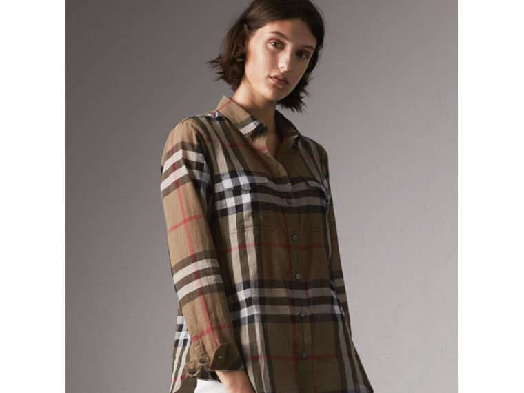 Check Cotton Shirt in Taupe Brown - Women | Burberry - cell image 4