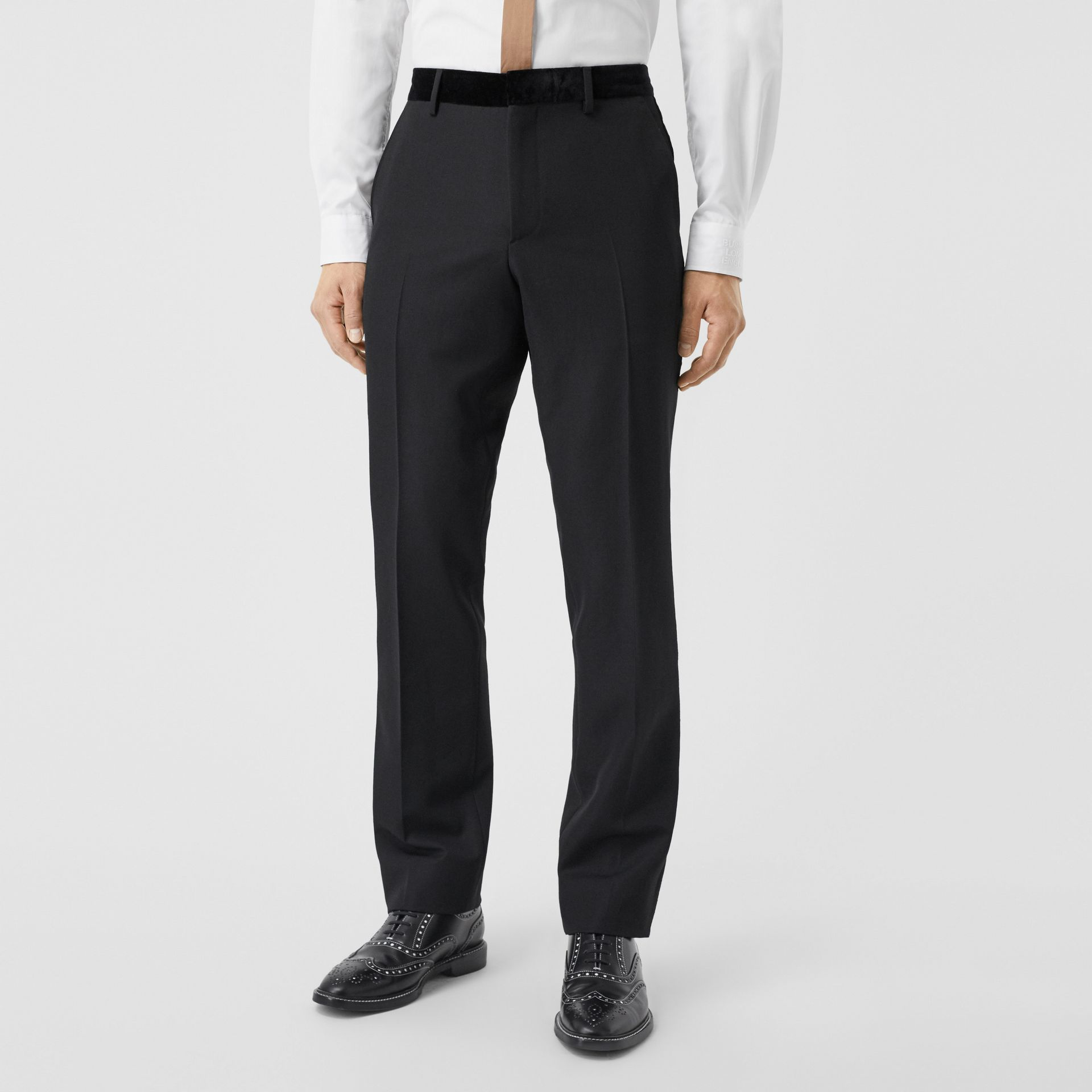 Classic Fit Velvet Trim Wool Tailored Trousers in Black - Men | Burberry - gallery image 5