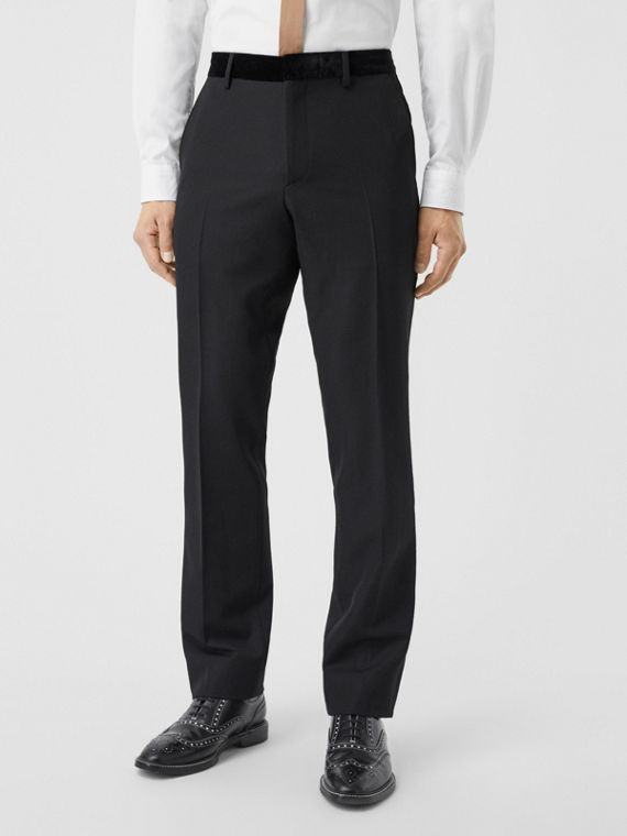 Classic Fit Velvet Trim Wool Tailored Trousers in Black