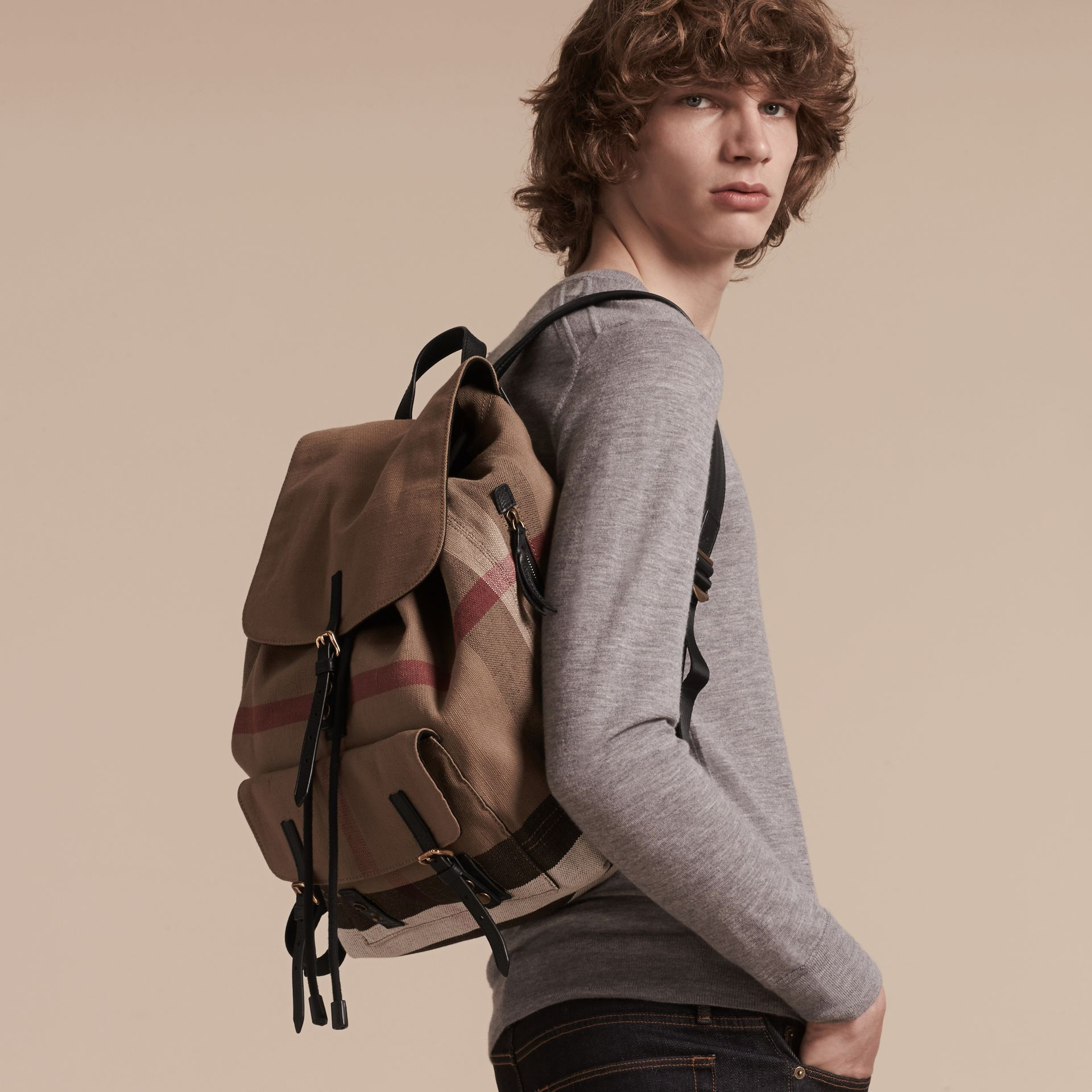 Black Canvas Check Backpack - gallery image 3