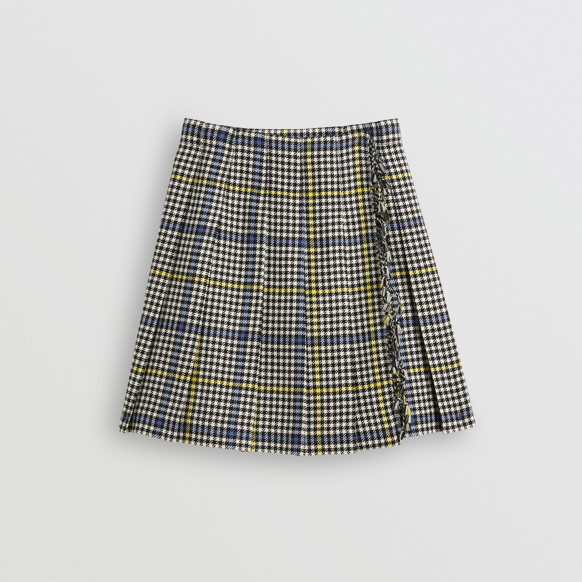 Fringe Detail Houndstooth Check Wool Kilt in Parchment | Burberry United Kingdom - gallery image 0